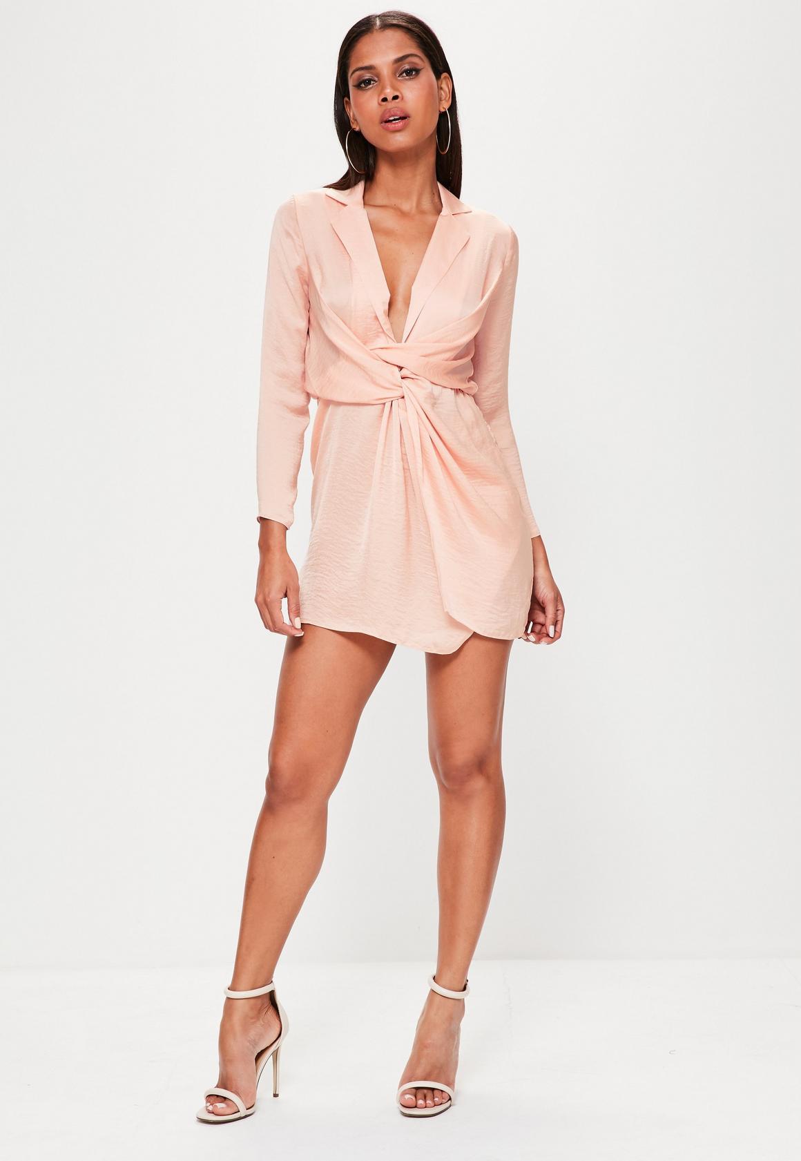 Missguided - Petite Pink Satin Wrap Plunge Neck Dress d9af8f036
