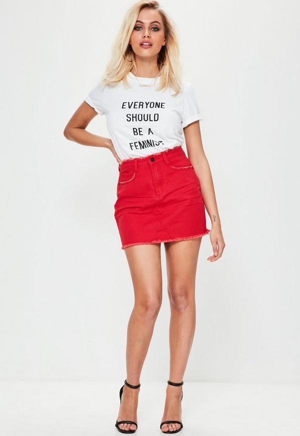 Petite Red Denim Mini Skirt | Missguided