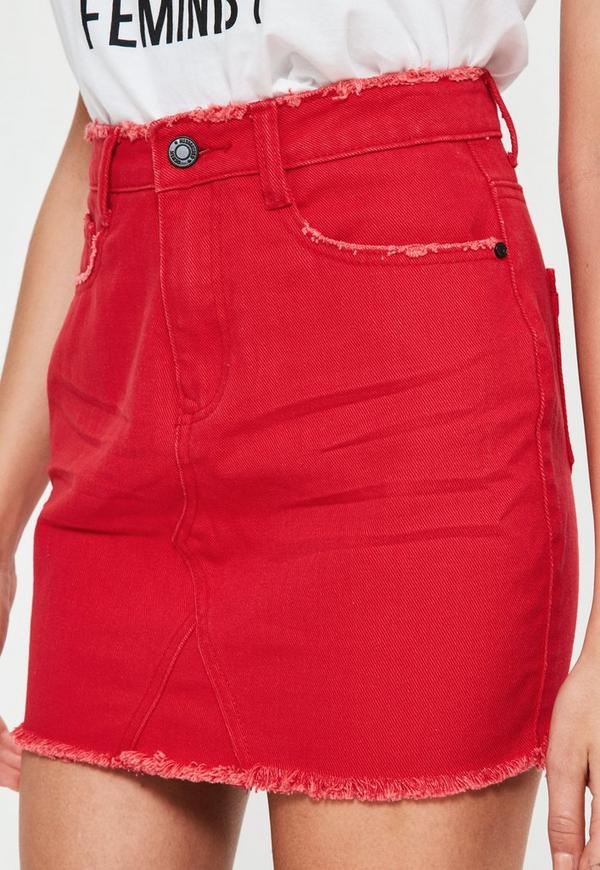 Petite Red Denim Mini Skirt | Missguided