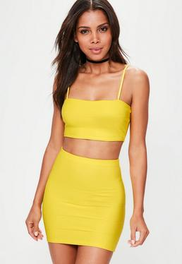 Petite Yellow Bandage Ribbed Mini Skirt