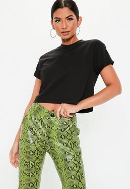 Petite Black Roll Sleeve Cropped Top