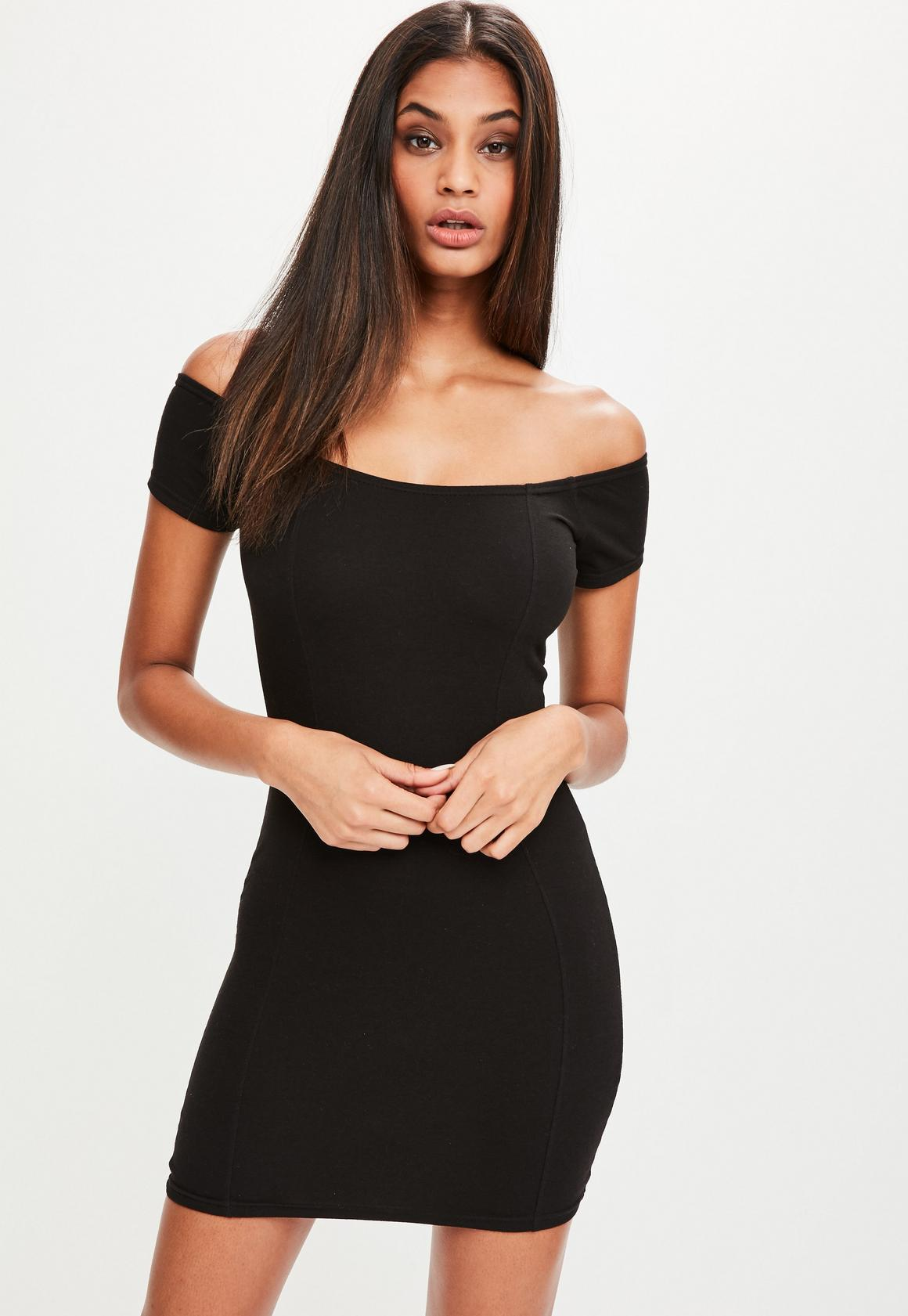 Petite Black Jersey Bardot Dress | Missguided