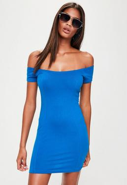 Petite Blue Jersey Bardot Dress