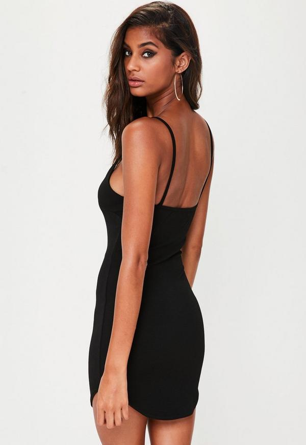03310da02091 ... Petite Black Strappy Plunge Bodycon Dress. Previous Next