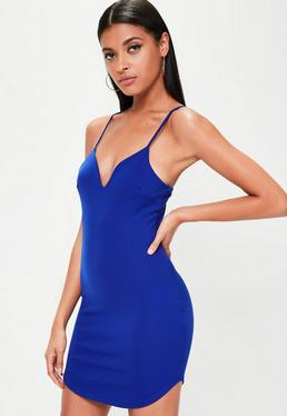 Petite Blue Strappy Plunge Bodycon Dress