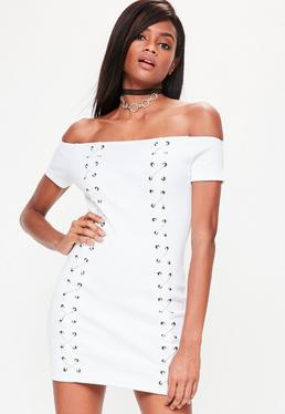 Petite White Lace Up Detail Ribbed Bardot Dress
