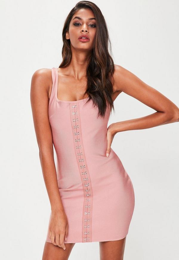 Petite Pink Bandage Eyelet Bodycon Dress
