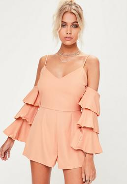 Petite Cold-Shoulder Playsuit in Apricot