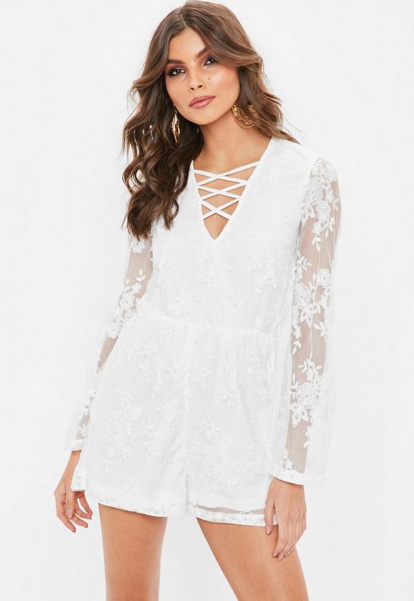 Petite White Lace Playsuit