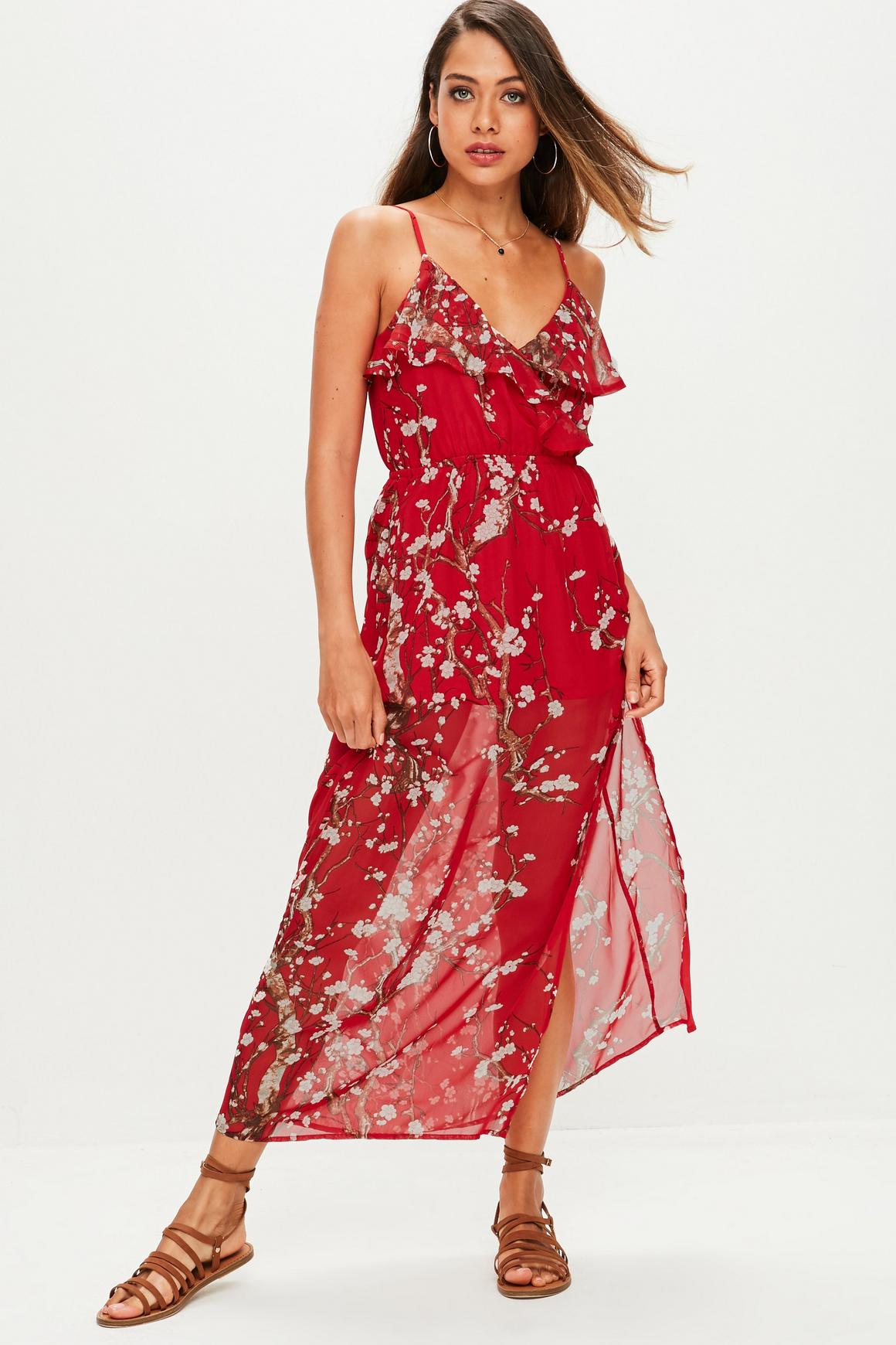 Petite Red Floral Frill Maxi Dress   Missguided