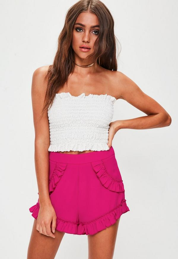 Petite Pink Frill Shorts