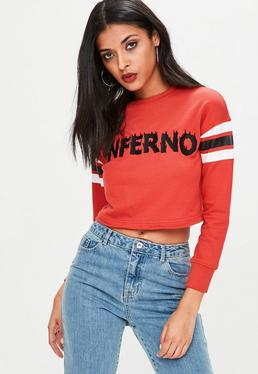 Petite Red Cropped Embroidered Sweatshirt