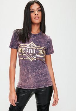 Petite Lila Washed-Out T-Shirt mit Metallic-Grafik