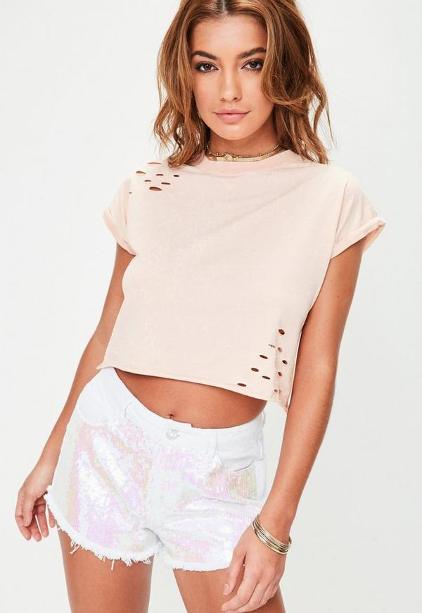 Petite Pink Roll Sleeve Cropped Top