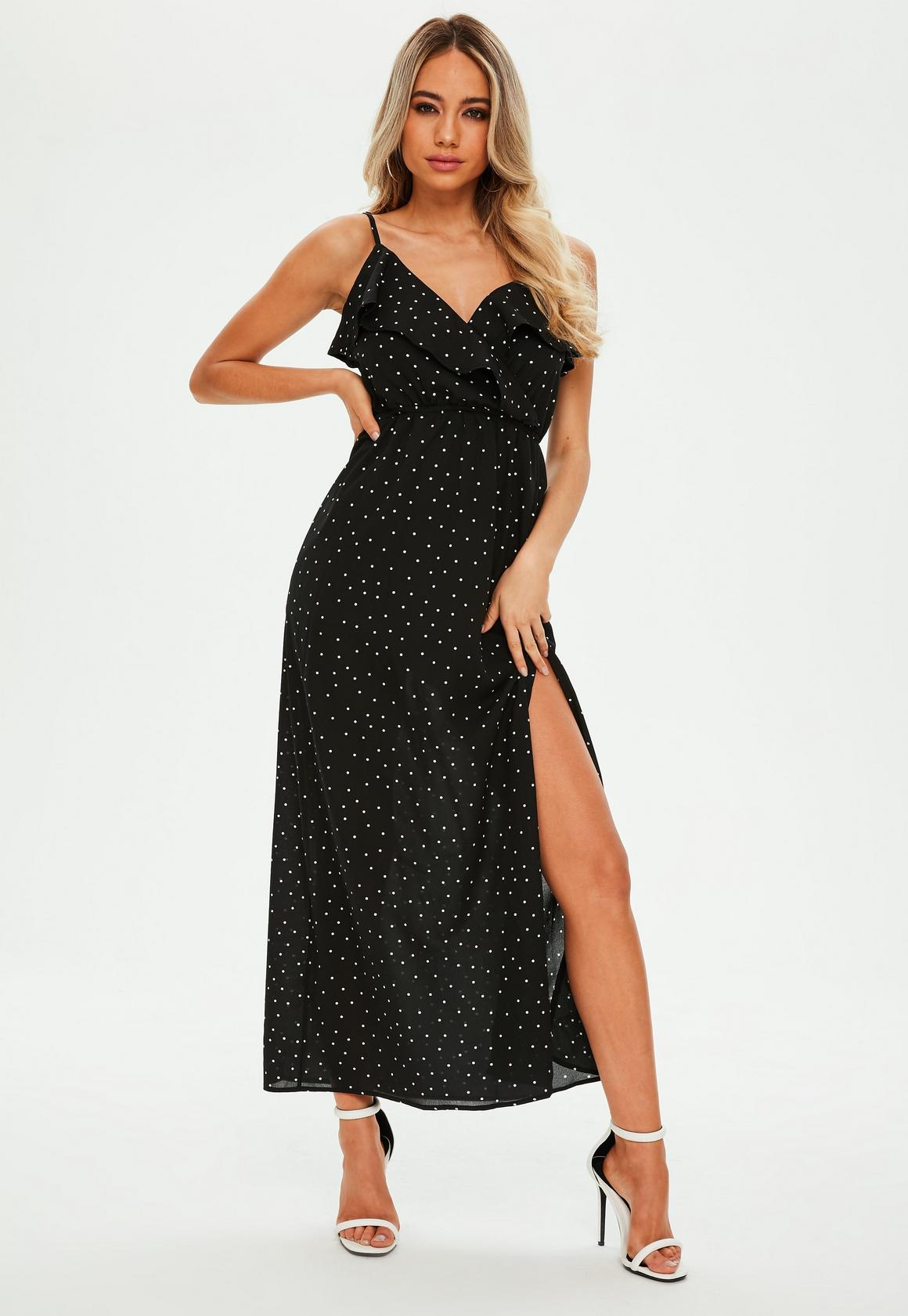 Petite Black Frill Side Maxi Dress | Missguided