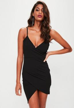 Petite Black Scuba Crepe Wrap Dress