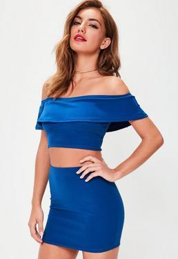 Niebieski zestaw spódniczka mini + krótki top bardot Petite