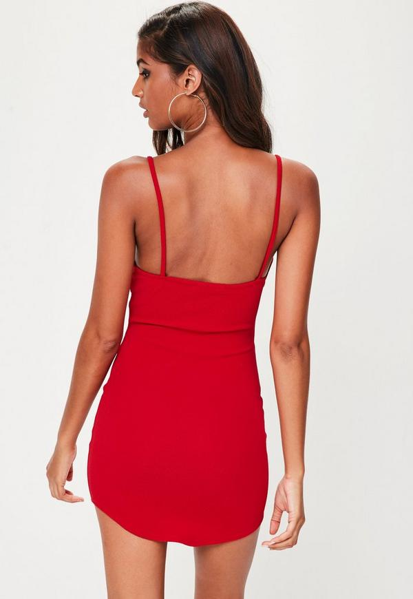 f459c1a685f9 ... Petite Red Strappy Plunge Bodycon Dress. Previous Next