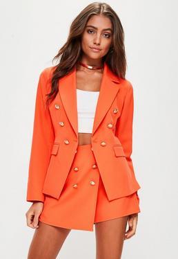 Petite Orange Military Blazer