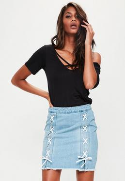 Petite Blue Denim Lace Up Mini Skirt
