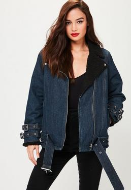 Petite Navy Denim Borg Lined Aviator Jacket
