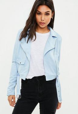 Petite Blue Faux Suede Biker Jacket