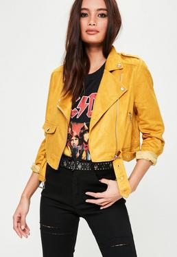 Żółta zamszowa kurtka ramoneska Petite