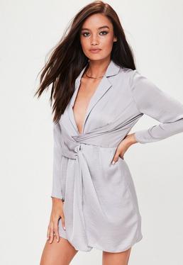 Petite Grey Satin Mini Dress