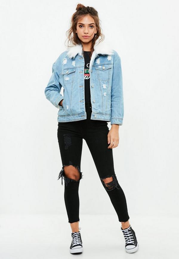 Petite Blue Denim Faux Fur Collar Jacket | Missguided