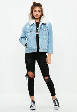 Petite Blue Denim Faux Fur Collar Jacket
