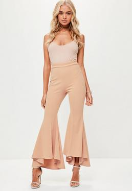 Petite Nude Frilled Trousers