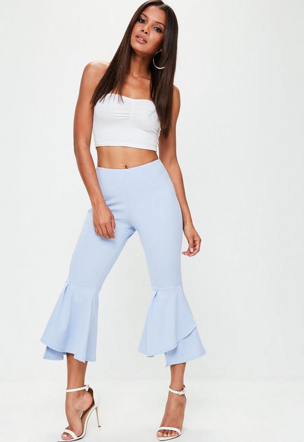 Petite Blue Double Frill Detail Trousers