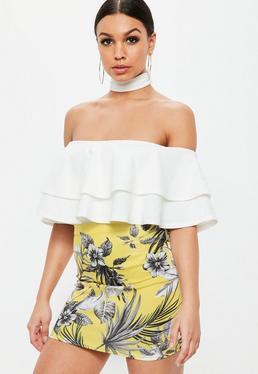Petite Yellow Floral Print Scuba Skirt