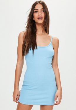 Petite Blue Strappy Mini Dress