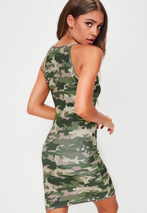 Petite green camo dress missguided for Green camo shirt outfit