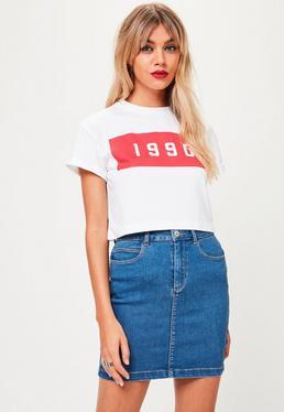 T-shirt court blanc imprimé 1990 Petite