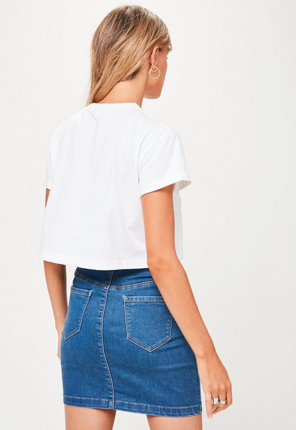 Petite White Logo Crop T Shirt Missguided