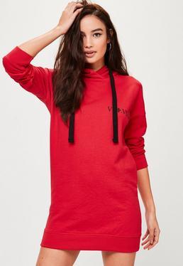 Petite Red Slogan Hoody Dress