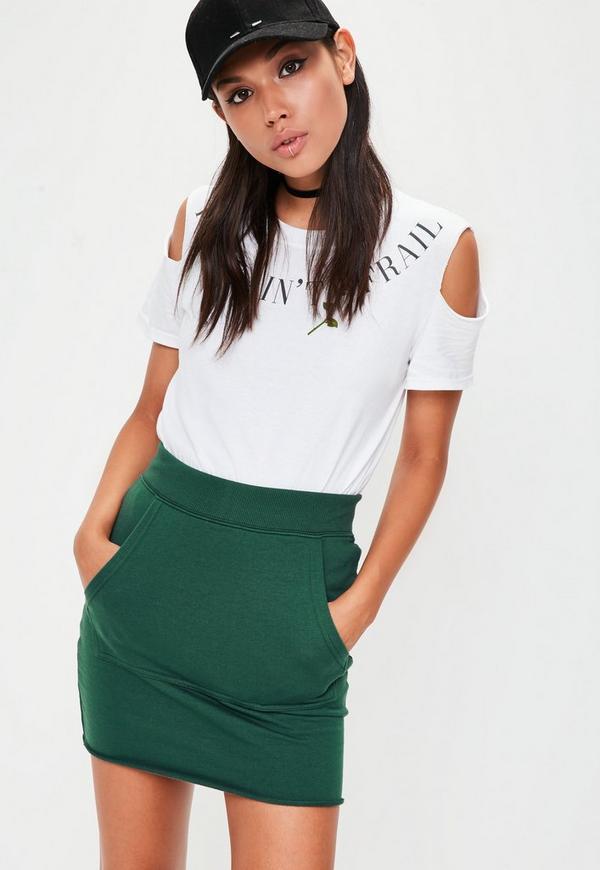 Petite green pocketed skirt