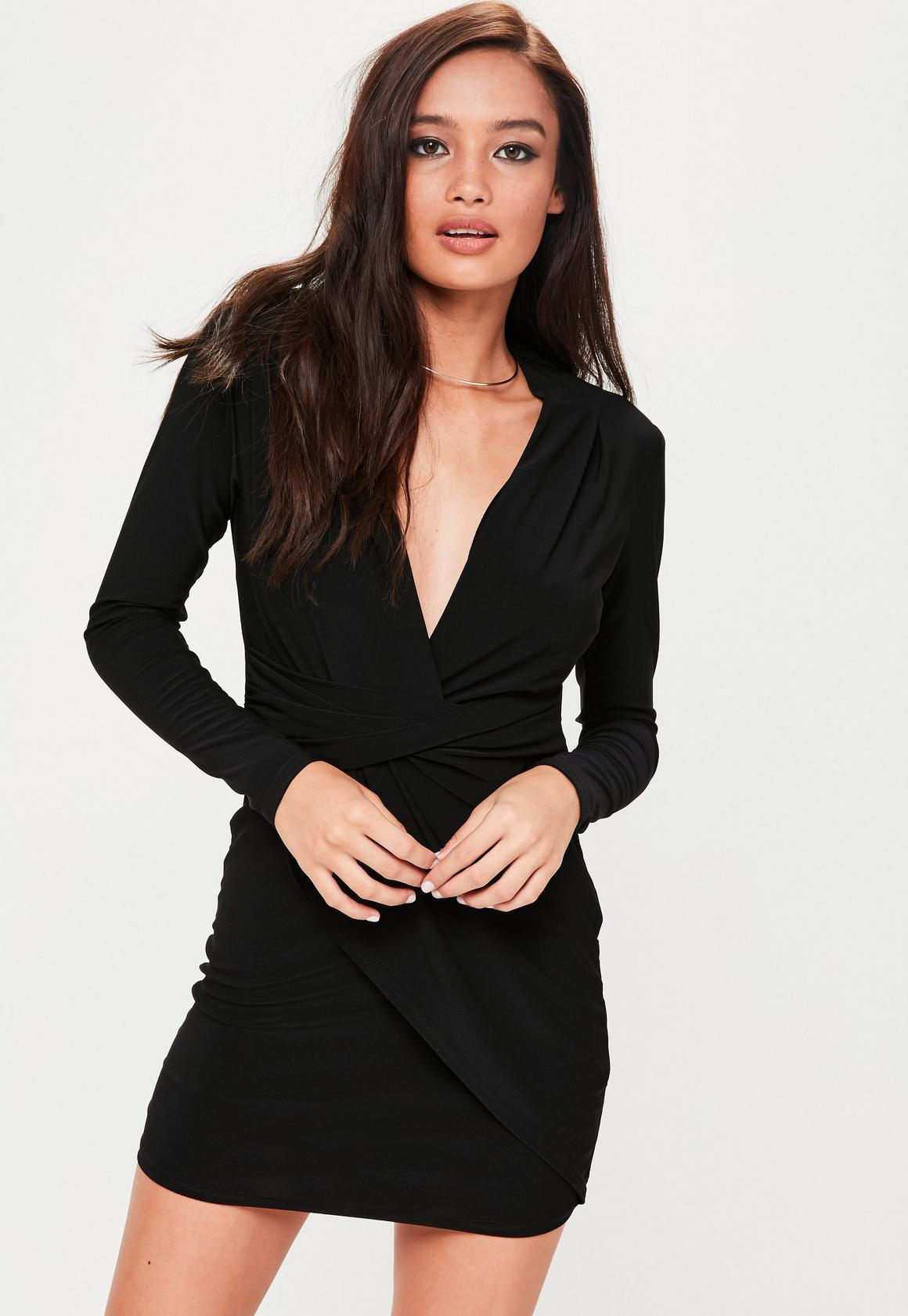Petite Black Longsleeve Slinky Wrap Dress | Missguided
