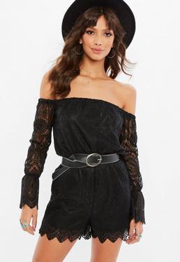 Petite Black Lace Bardot Romper