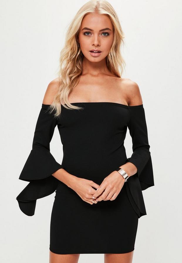 petite black bardot frill sleeve dress