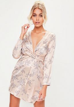 Petite Floral Printed Satin Wrap Dress
