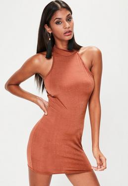 Brown High Neck Sleeveless Dress