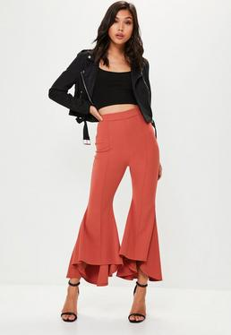 Petite Red Bell Flared Trousers
