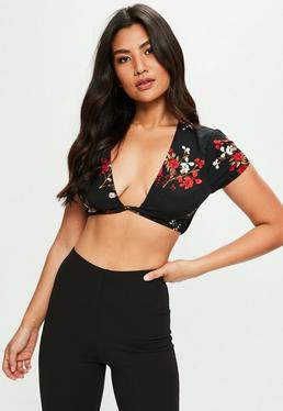 Petite Black Floral Twisted Front Crop Top