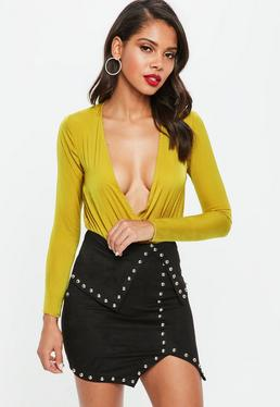 Petite Chatreuse Hammered Satin Wrap Bodysuit