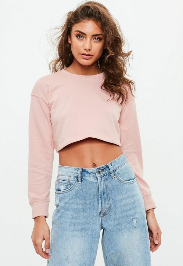 Petite Pink Cropped Sweatshirt