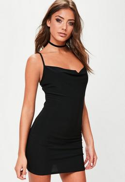 Petite Black Slinky Cowl Neck Mini Dress