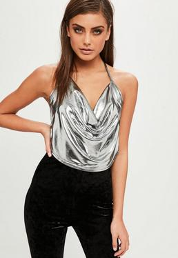 Petite Silver Cowl Neck Top